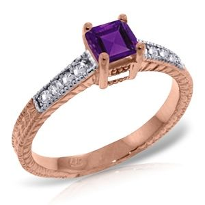 SOLID GOLD RINGS W/ NATURAL DIAMONDS & AMETHYST